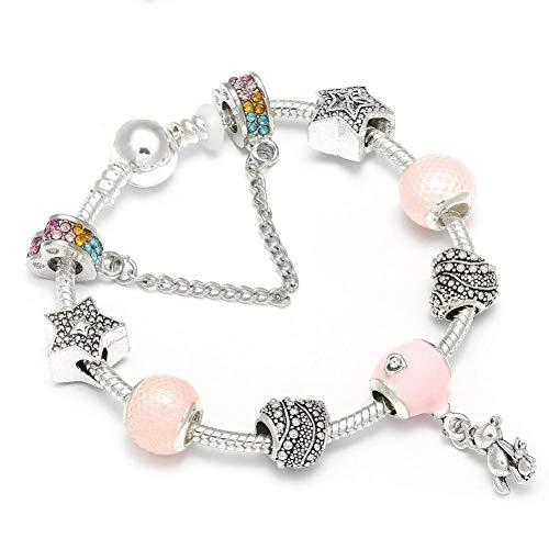 gene Schlangenkette Charm Armband Rosa Bär SterneBracelet & Bangle Für Frauen Mädchen Schmuck Geschenke ()