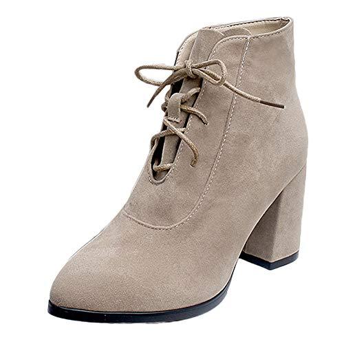 Preisvergleich Produktbild WWricotta Damen Schuhe Stiefeletten Chelsea Boots mit Blockabsatz Profilsohle Kurzschaft Stiefel Freizeitschuhe Schnürschuhe Martin Stiefel Ankle Boots