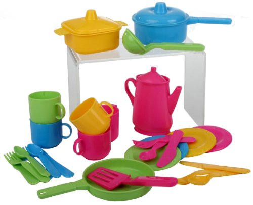 Haberkorn - Set da cucina per bambine, 30 pezzi (pentole e posate)