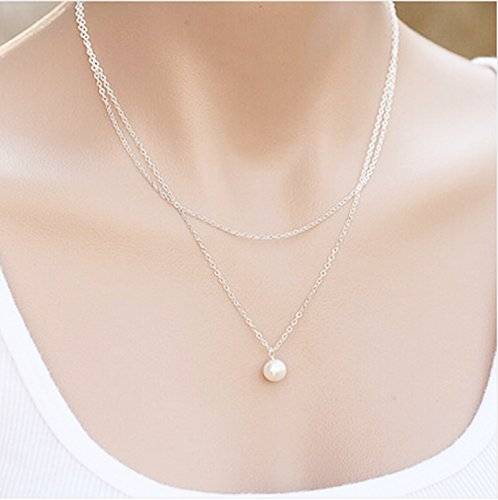 ITS Elegant Pearl Double Silver Color Finish Chain Alloy Pendant Necklace For...