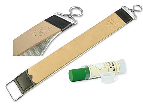 Profi Streichriemen Abziehleder 2-Teilig Leder Baumwolle mit Solingen Schleifpaste zum Rasiermesser schärfen