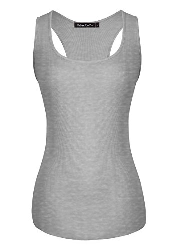 Urban GoCo Donna Canotta Sportiva Yoga Fitness Running Basilare Stretch Ribbed Tank Top Grigio chiaro