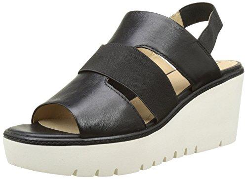Geox d domezia b, sandali con zeppa donna, nero (blackc9999), 36 eu