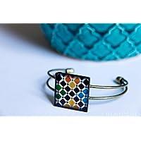 Pulsera Alhambra - Mosaico Multicolor - Cerámica Colores Fotografía Resina ecológica 25mm - Regalos originales para mujer - Aniversario - Regalo de Navidad