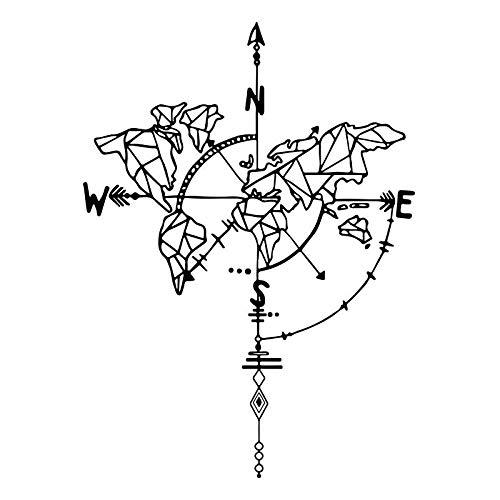 Abstrakte Weltkarte Kompass Wandaufkleber entfernbare Wohnzimmer Dekor PVC-Abziehbilder in Familienzimmern Art Design Hauptdekoration (Sprachen Weltkarte)