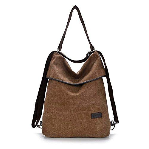 Alando Casual Canvas Damen Schultertasche, Damen Handtasche und damen Rucksack (khaki)