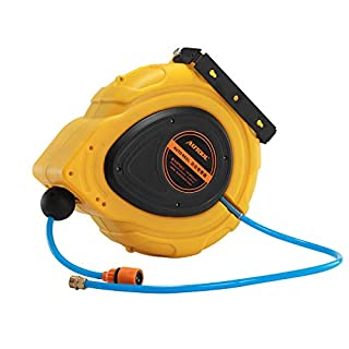 AUTOOL Automatic Water Hose Reel 50 Feet (15m) Water Retractable Hose for Garden, Garage, Agriculture with Water Hose