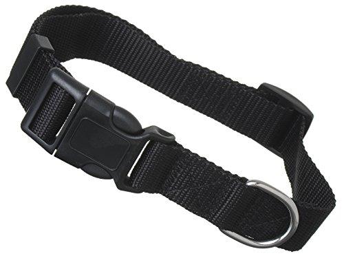 Hundehalsband Hunde Nylon Halsband Klickverschluss mit Sicherung 1-2,5 cm Breit (L: 32-49 x 2,5cm, Schwarz)