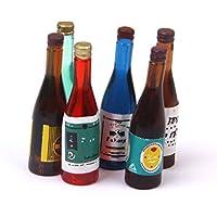 Preisvergleich für 1:12 6 stücke Dollhouse Miniature Weinflasche Bier Champagner Weinflaschen Pub Bar Küche Zubehör