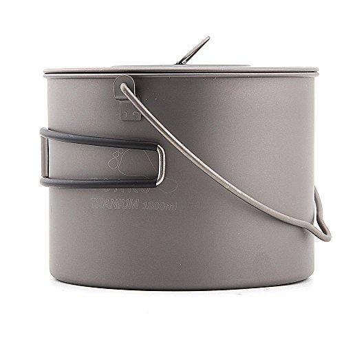 TOAKS pot-1300-bh Titanium Schüssel Titan Topf hängen Topf mit Cover Outdoor Camping Kochgeschirr 1300ml