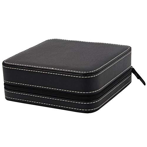 Jakiload Tragbare Aufbewahrungsbox mit Reißverschluss für Schmuck-Uhrgläser (Color : Black)