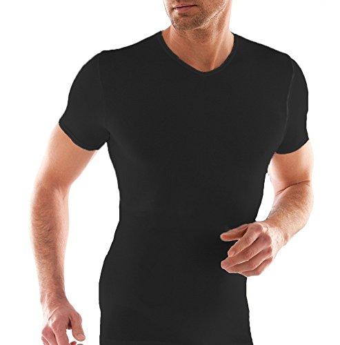 3 t-shirt corpo uomo cotone elasticizzato liabel mezza manica scollo a punta 03858/p53 (5/l, nero)