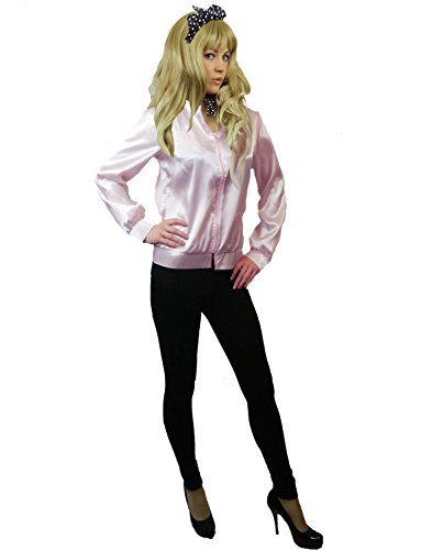 (Yummy Bee - 50er Jacke Satin Pink Damen Junggesellinnenabschied Karneval Fasching Kostüm Größe 34 - 50 60er 70er(36-38))