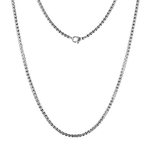 Meilanty Damen Halskette 80cm Silber Edelstahl Ketten