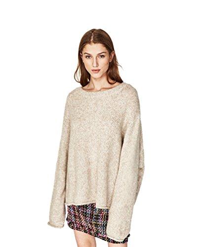 WanYang Donne Maglione in Larghi da Spalla a Maniche Lunghe Casuale Maglioni Oversize Sweatshirt Tops Maglietta Albicocca