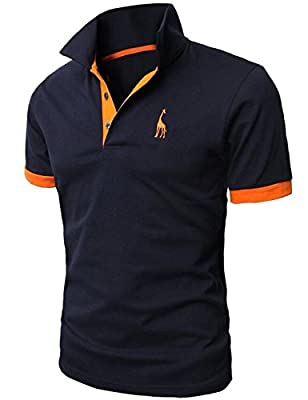 Glestore Mens Polo Shirts Contrast Color Golf Tennis Shirt Giraffe
