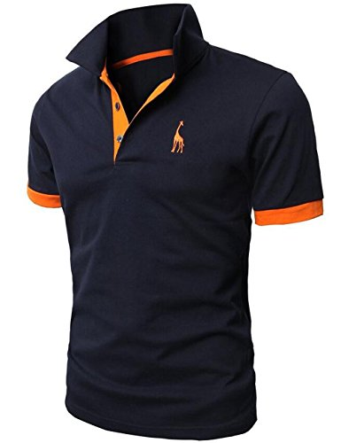 Glestore Mens Short Sleeve Polo Shirts Contrast Collar Polo Shirt Golf Tennis Shirt Giraffe (M, Dark Blue)