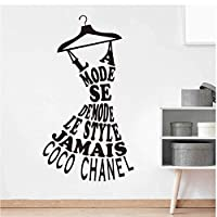 Designer Dress Hanger Quote Decal Bedroom Living Room Clothes Stand Words Wall Sticker Girl Room Vinyl Decor Removable Mural Mirror Poster 56X31Cm