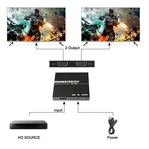 Pawaca HDMI Splitter 1 in 2 Ausgang, 2-Port 4K HDMI Splitter 4K 1080P für Xbox PS4 PS3 Fire Stick Apple TV HDTV Roku Blu-Ray-Player - Netzteil enthalten 2-port Hdmi Splitter