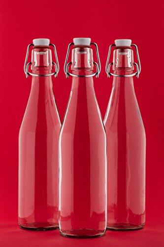 6 leere Glasflaschen mit Bügelverschluss 500ml Saftflaschen 0,5 Liter l 50 cl Likörflasche Bügelverschlussflasche Bügelflasche Schnapsflasche Essig-ÖL Flasche von slkfactory Test