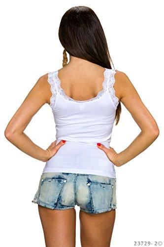 Top Donna canotta maglietta elasticizzata senza maniche con finiture in pizzo Bianco