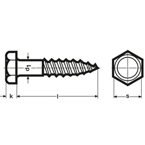 Widex 21057110180 DIN 571, Sechskant-Holzschraube, Stahl verzinkt, 10x180, 50 Stück