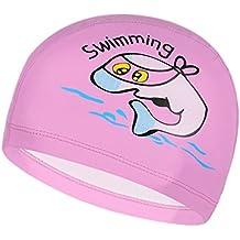 Unisex impermeable antideslizante recubierto de poliuretano superficie ballena dibujos animados gorro de natación para niños, Infantil, color rosa, tamaño medium