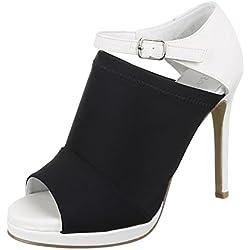 Damen Schuhe, Z91051, PUMPS, HIGH HEELS SANDALETTEN, Synthetik in hochwertiger Lederoptik , Schwarz Weiß, Gr 37