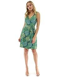 PattyBoutik V-Ausschnitt ärmellos Wickelkleid mit trendigem Muster. Raffiniert sind auch die Raffungen an den Seiten des figurbetonten Jerseykleides. Modell im Bild ist 5 Fuß 8-10 Zoll (173-178cm) gross und trägt Größe S.