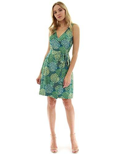 PattyBoutik Damen V-Ausschnitt ärmellos Wickelkleid mit trendigem Muster (dunkel türkis, grün und gelb 19 L 42/44) V-ausschnitt Blouson