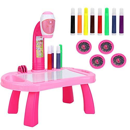 Malen Projektor, Projektor Lernen Malen für Kinder-Pädagogisches Lernen Spielzeug Trace Set Malen Spielzeug Projektor Schreibtisch Tablet Lernen Spielzeug Werkzeug Geschenk(Rosa)