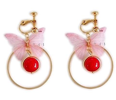 Ohrclips Clip on Ohrringe Ohr für No Piercing Baumeln Kreis Schmetterling Bead Quaste für Teens (Bead Tropfen Baumeln Ohrringe)