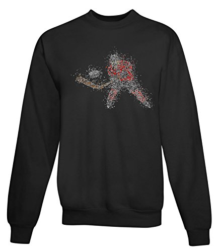 Billion Group | Hockey Player | Abstract Art Sport | Women's Unisex Sweatshirt Noir