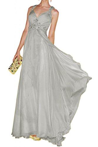 Toscane mariée bezaubernd rueckenfrei chiffon abendkleider de longueur fixe party ball promkleider ladies'fashion Argenté - Argent