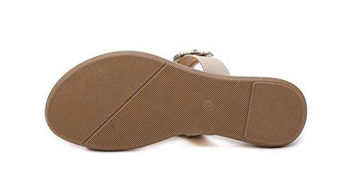 Sandali femminili fiori di diamanti sandali scarpe piane di grandi dimensioni nero