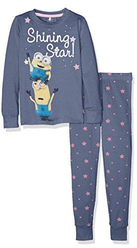NAME IT Mädchen Zweiteiliger Schlafanzug Nitminions Beth Nightset Nmt, Mehrfarbig (Vintage Indigo), 122