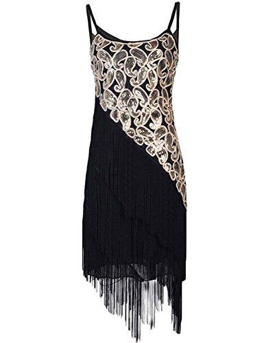 Kayamiya Damen 1920er Pailltte Muster Tiered Quaste Gatsby Flapper Kleid XL Gold