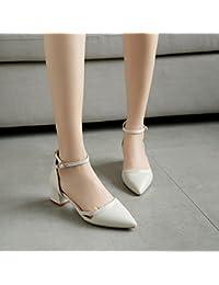 ZCJB Zapatos De Tacón Alto Zapatos De Tacón Medio De Mujer Four Seasons Zapatos De Punta Blanca ( Color : Blanquecino...