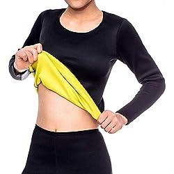 Dihope T-Shirt de Compression en Néoprène Femme Minceur Manches Longues pour Sport Yoga Gym Exercice Fitness Perdre de Poids