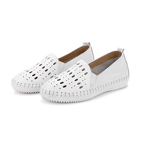 AgooLar Femme Couleur Unie Matière Mélangee à Talon Bas Tire Rond Chaussures Légeres Blanc