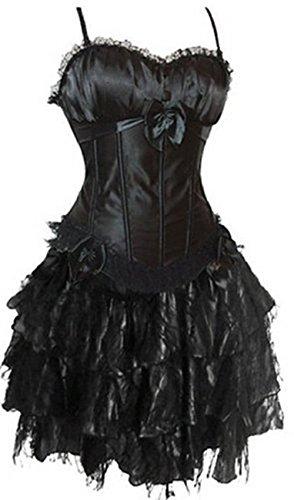 Damen Corsagenkleid Lang Spitenrock Petticoat Burlesque (Burlesque Kostüme Kleid)
