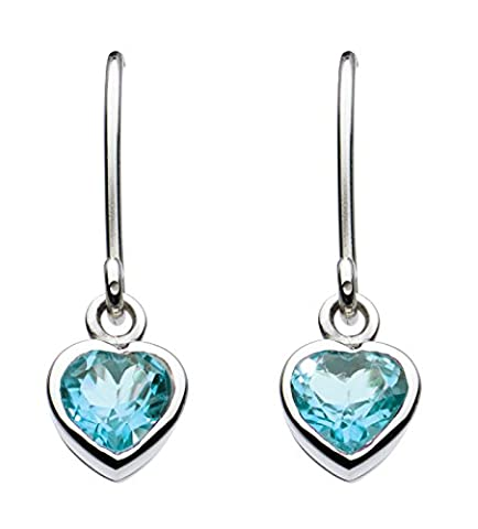 Dew Sterling Silver and Blue Topaz Heart Drop Earrings 5017BT
