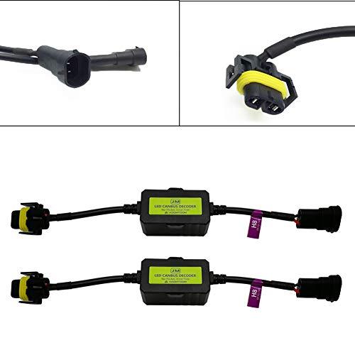 KOOMTOOM LED H8/H11 LED Decoder Anti flicker Harness Resistor Adattatore per lampadine faro Light Warning Error Decoder di cancellazione elettromagnetica