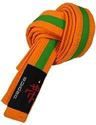 DEPICE Cinturones de artes marciales, color naranja/verde, talla 220 cm