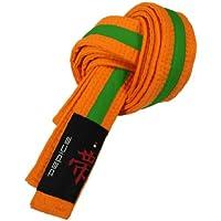 DEPICE Budogürtel orange/grün zweifarbig – Zwischengürtel Kampfsportgürtel Karategürtel Judogürtel