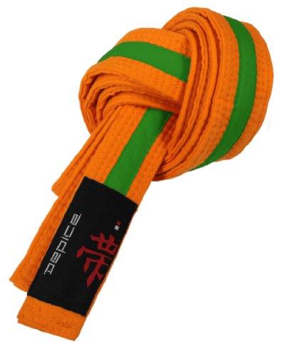 DEPICE Gürtel Karategürtel Judogürtel, Orange/Grün, 240 cm, g zog