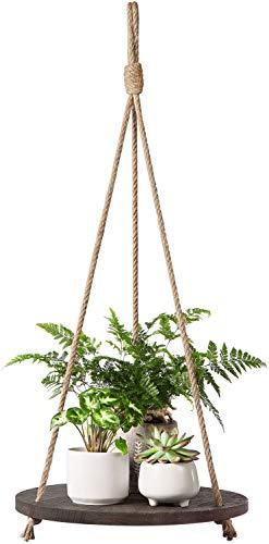 Dahey Hängeregal für Pflanzen, rund, schwebend, Naturholzbrett mit Juteseil, Vintage-Dekorationsregal, für Wohnzimmer, Schlafzimmer, Küche, Dunkelbraun