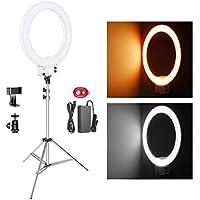 Neewer 18-Zoll weißes LED-Ringlicht mit silbernem Lampenständer Licht Set Dimmbar 50W 3200-5600K mit weicher Filter, Zubehörschuh Adapter, Handyhalter für Make-up Video