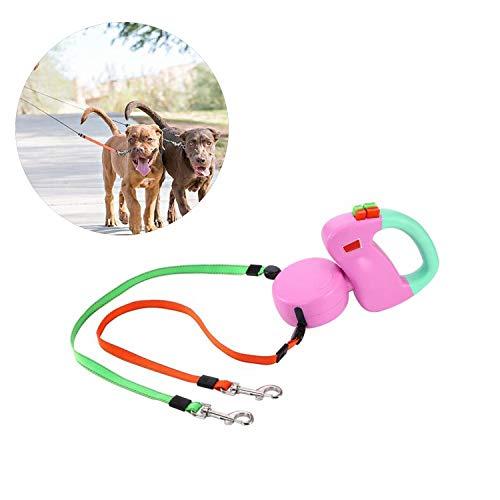 Retractable Hundeleine Für 2 Hunde Dual Cord 10 Ft Hundeleine Mit Einem Knopf Break & Lock System,Pink,22×13Cm -