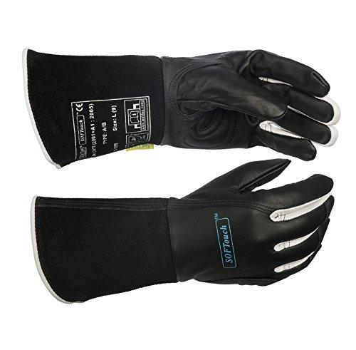WELDAS WIG Schweißerhandschuhe Gr. M, L, XL schwarz, Leder 10-1050 Kevlar (10-1050, M) -